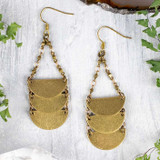 Brass Component and Chain Statement Earrings
