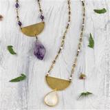 Half Moon Gemstone Drop Necklaces