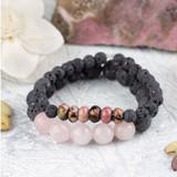 Rhodonite, Rose Quartz, and Lava Bracelets