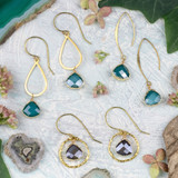 Crystal Drops & Brass Earring Collection