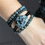 Aromatherapy Black and Grey Stacking Bracelets