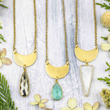 Brass Waxing Crescent Moon Necklaces