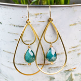 Crystal Teardrop & Brass Earrings