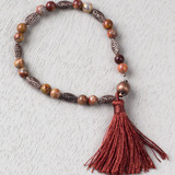 Red Crazy Lace Agate and Redwood Tassel Bracelet