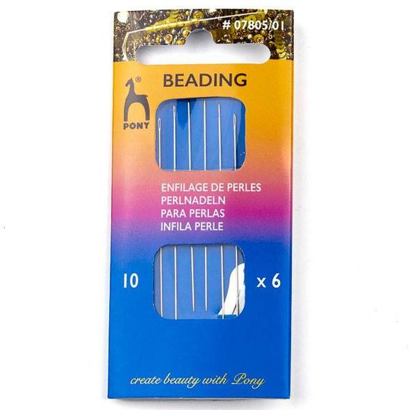 Pony Beading Needles #10 - 6 needles, 1 needle threader