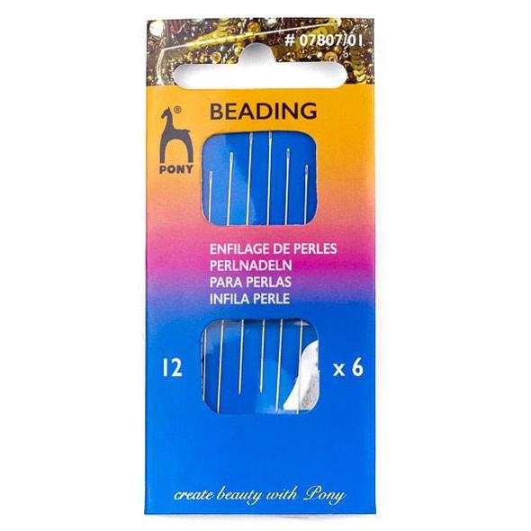 Pony Beading Needles #12 - 6 needles, 1 needle threader