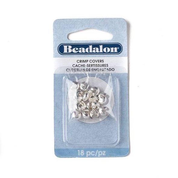 Silver Plated 6mm Crimp Covers - 18 pieces - 349B-014