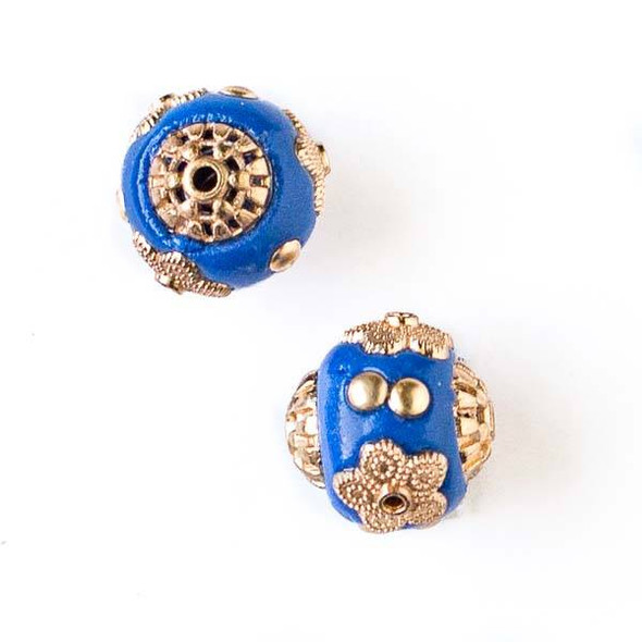 14mm Blue and Gold Handmade Bead with Bead Caps - 2 per bag