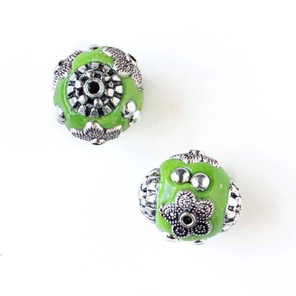 14mm Lime Green and Silver Handmade Bead with Bead Caps - 2 per bag