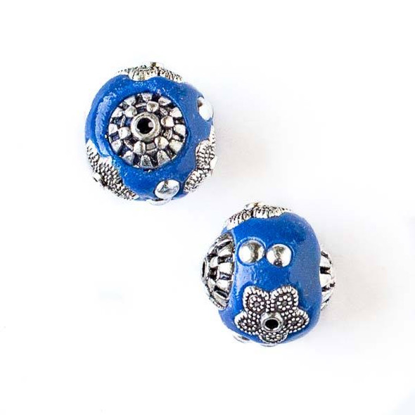 14mm Blue and Silver Handmade Bead with Bead Caps - 2 per bag