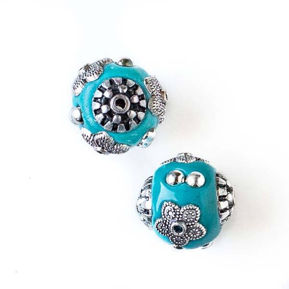 14mm Turquoise Blue and Silver Handmade Bead with Bead Caps - 2 per bag