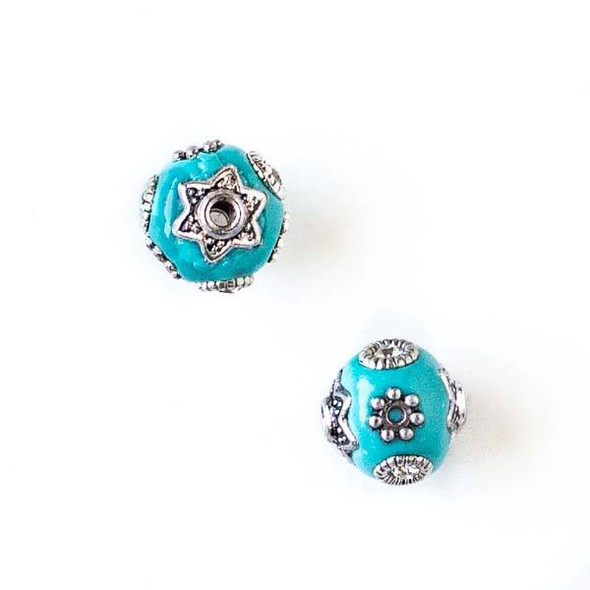 11mm Turquoise Blue and Silver Handmade Bead with Bead Caps - 2 per bag