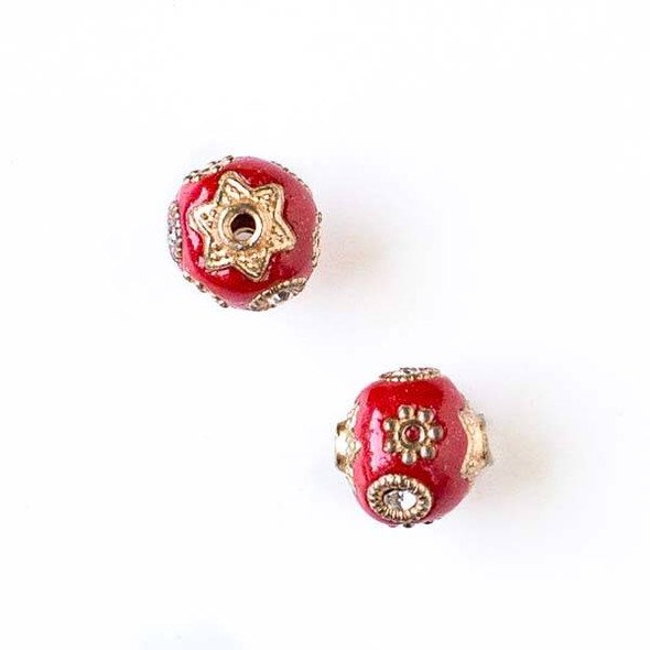 11mm Red and Gold Handmade Bead with Bead Caps - 2 per bag