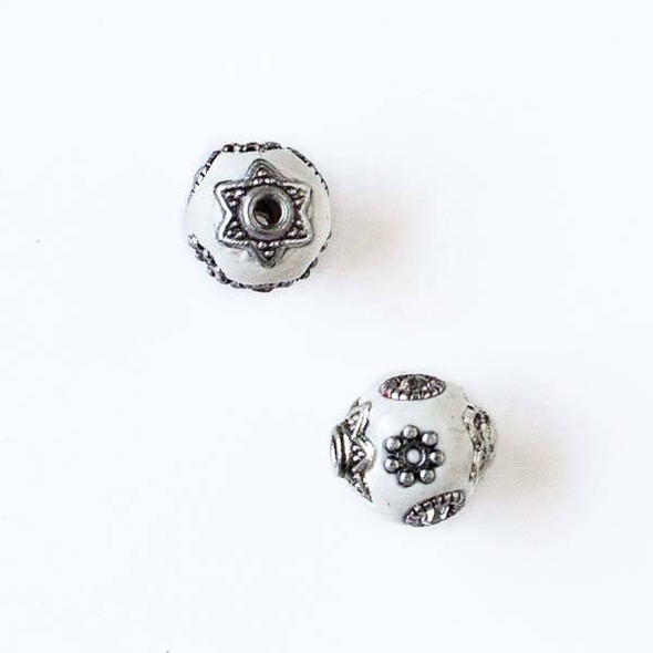 11mm White and Silver Handmade Bead with Bead Caps - 2 per bag