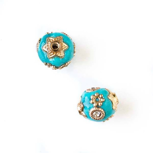 11mm Turquoise Blue and Gold Handmade Bead with Bead Caps - 2 per bag