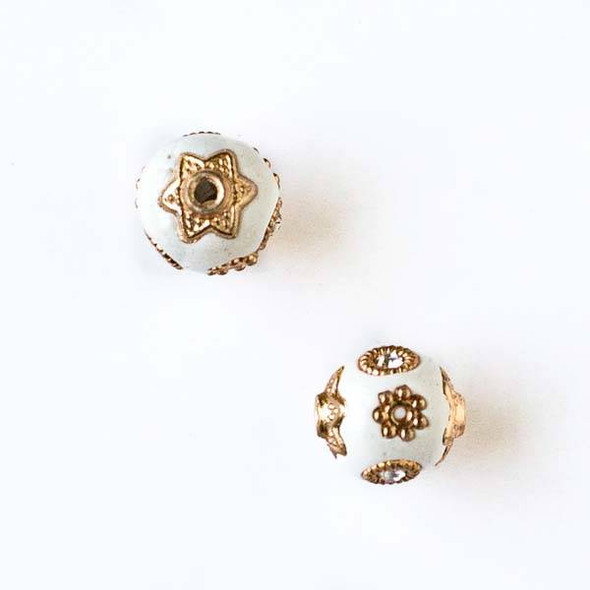 11mm White and Gold Handmade Bead with Bead Caps - 2 per bag