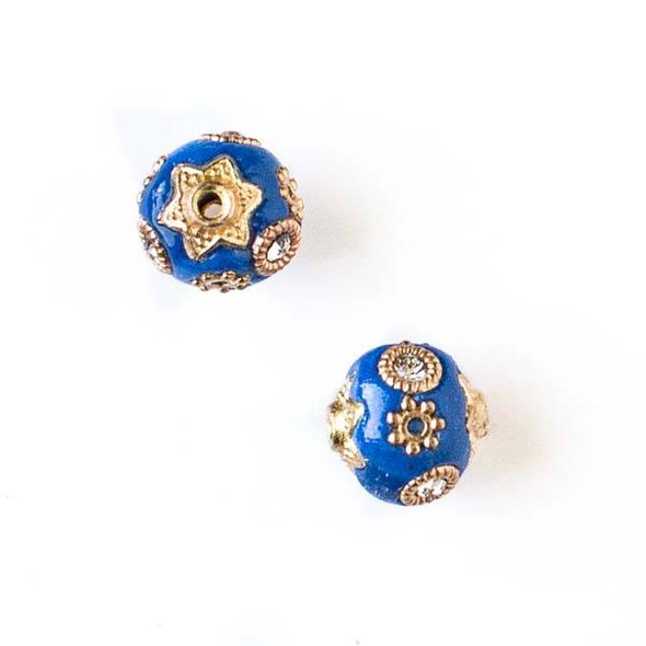 11mm Blue and Gold Handmade Bead with Bead Caps - 2 per bag