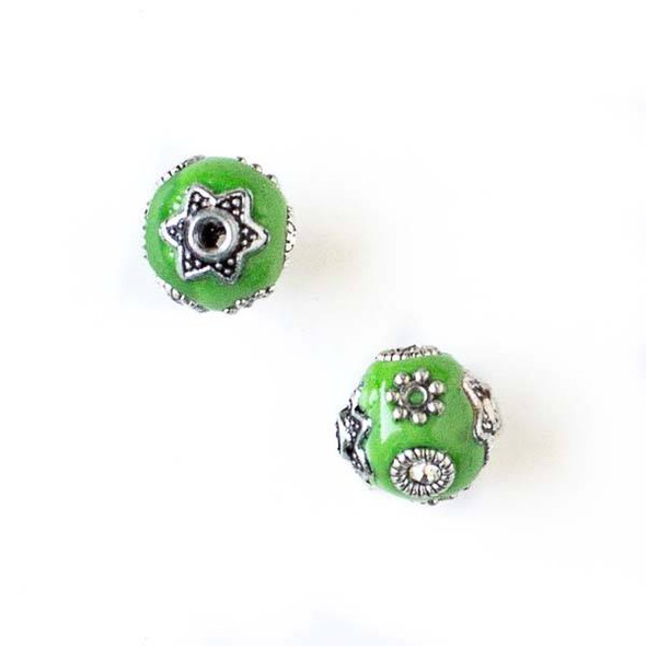 11mm Spring Green and Silver Handmade Bead with Bead Caps - 2 per bag