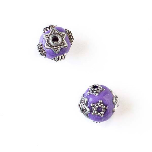 11mm Purple and Silver Handmade Bead with Star Bead Caps - 2 per bag