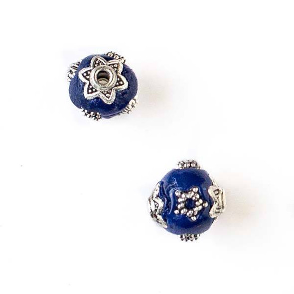 11mm Navy Blue and Silver Handmade Bead with Star Bead Caps - 2 per bag