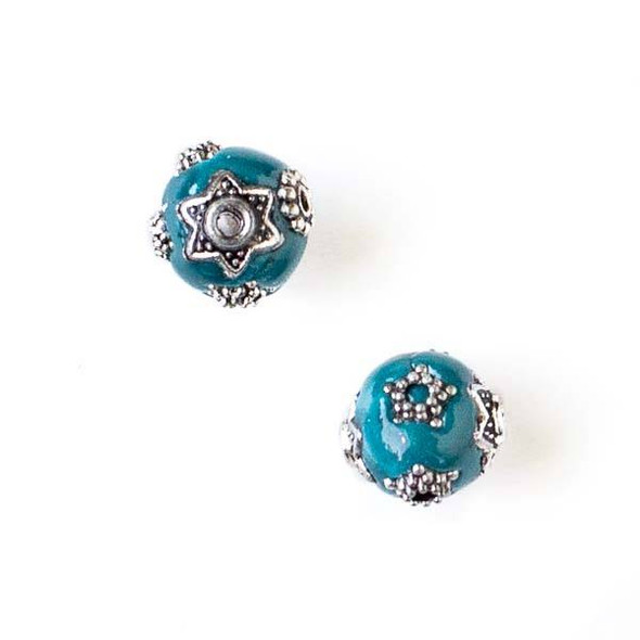 11mm Teal Blue and Silver Handmade Bead with Star Bead Caps - 2 per bag