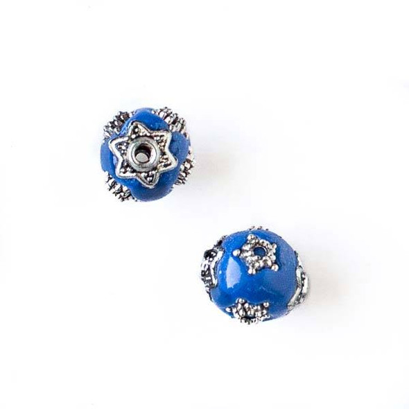 11mm Blue and Silver Handmade Bead with Star Bead Caps - 2 per bag