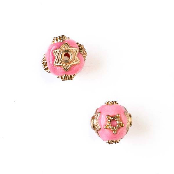 11mm Bubblegum Pink and Gold Handmade Bead with Star Bead Caps - 2 per bag