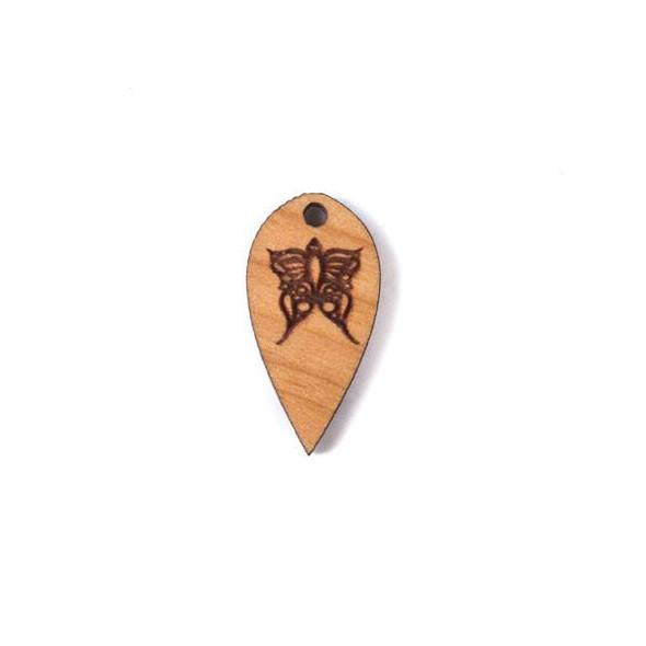 Handmade Wooden 12x24mm Butterfly Dew Drop Focal - 1 per bag