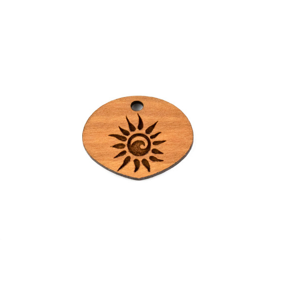 Handmade Wooden 19x25mm Blazing Sun Wide Pointed Oval Focal - 1 per bag