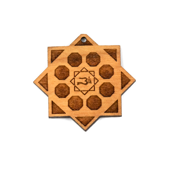 Handmade Wooden 38x40mm Small Crystal Grid Focal with Ohm - 1 per bag
