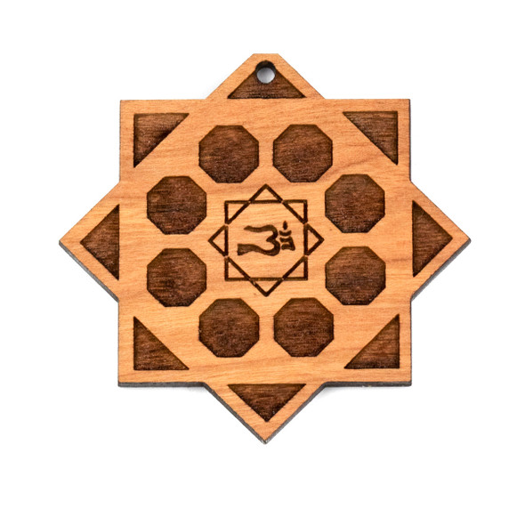 Handmade Wooden 50x52mm Large Crystal Grid Focal with Ohm - 1 per bag