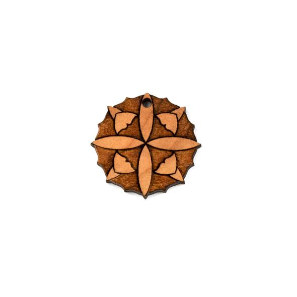 Handmade Wooden 24mm Small Mandala Focal - 1 per bag