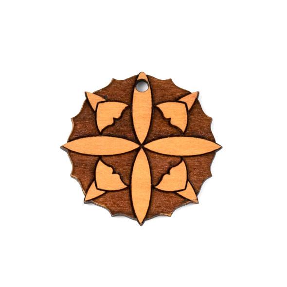 Handmade Wooden 37mm Large Mandala Focal - 1 per bag