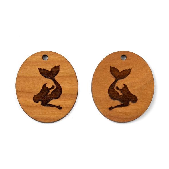 Handmade Wooden 27x31mm Mermaid Oval Earring Set - 2 per bag