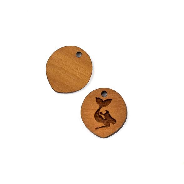 Handmade Wooden 18x20mm Mermaid Pointed Oval Earring Link Set - 2 per bag