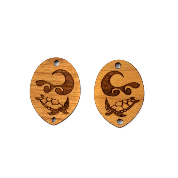 Handmade Wooden 20x27mm Sea Turtle and Wave Pointed Oval Earring Link Set - 2 per bag
