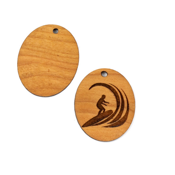 Handmade Wooden 25x30mm Surfer Riding Wave Oval Focal - 1 per bag