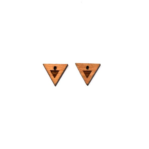 Handmade Wooden 10x11mm Tiny Triangle Focals - 2 per bag