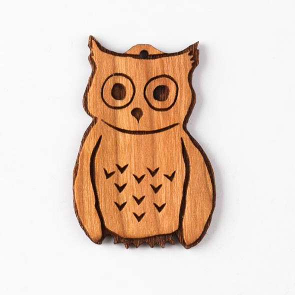 Handmade Wooden 25x45mm Fun Owl Pendant