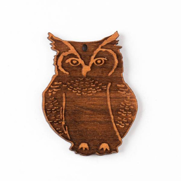 Handmade Wooden 34x44mm Great Horned Owl Pendant