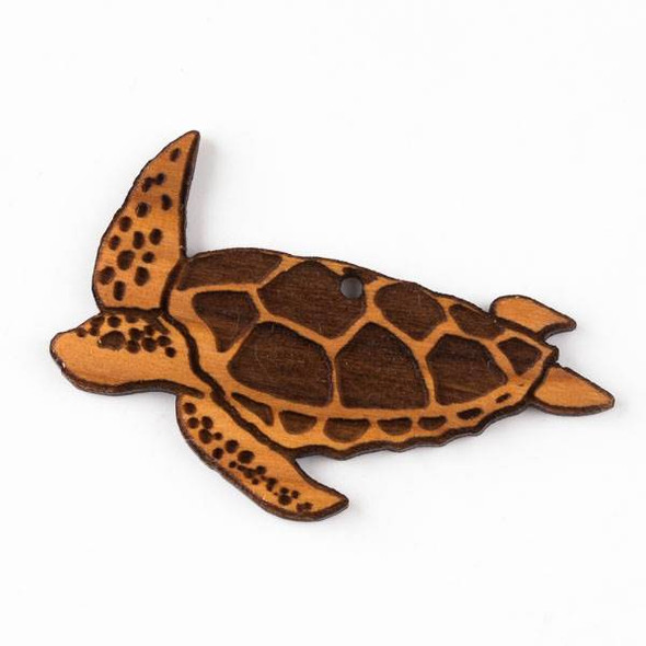 Handmade Wooden 40x57mm Sea Turtle Pendant