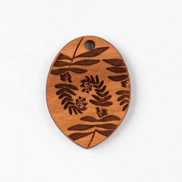 Handmade Wooden 30x40mm Large Fiddlehead Fern Print Oval Pendant