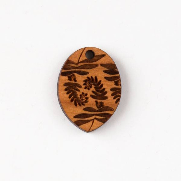 Handmade Wooden 19x25mm Small Fiddlehead Fern Print Oval Pendant