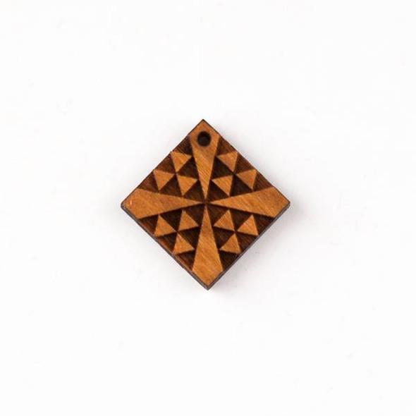 Handmade Wooden 22mm Small Chevron Cross Diamond Pendant