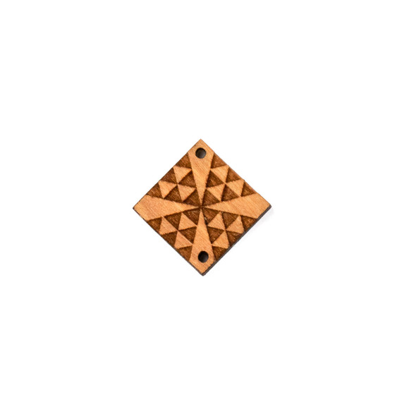 Handmade Wooden 22mm Small Chevron Cross Diamond Link with 2 holes - 1 per bag