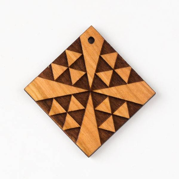 Handmade Wooden 48mm Large Chevron Cross Diamond Pendant