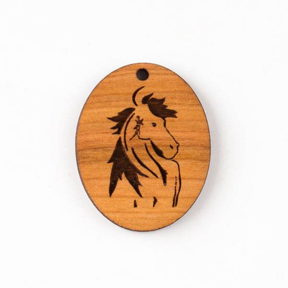 Handmade Wooden 30x38mm Mustang Horse Oval Pendant