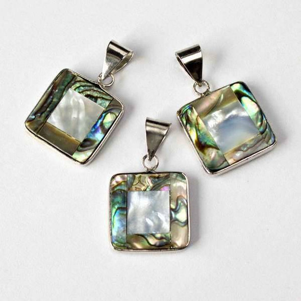 Abalone Paua Shell and Black Lip Shell 19mm Square Pendant with a Silver Base Metal Bail