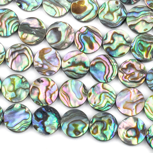 Abalone 12mm Coin Beads - 16 inch strand