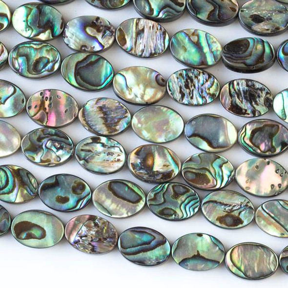 Abalone Paua Shell 10x14mm Oval Beads - 15 inch strand